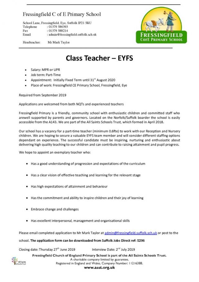 thumbnail of EYFS Vacancy